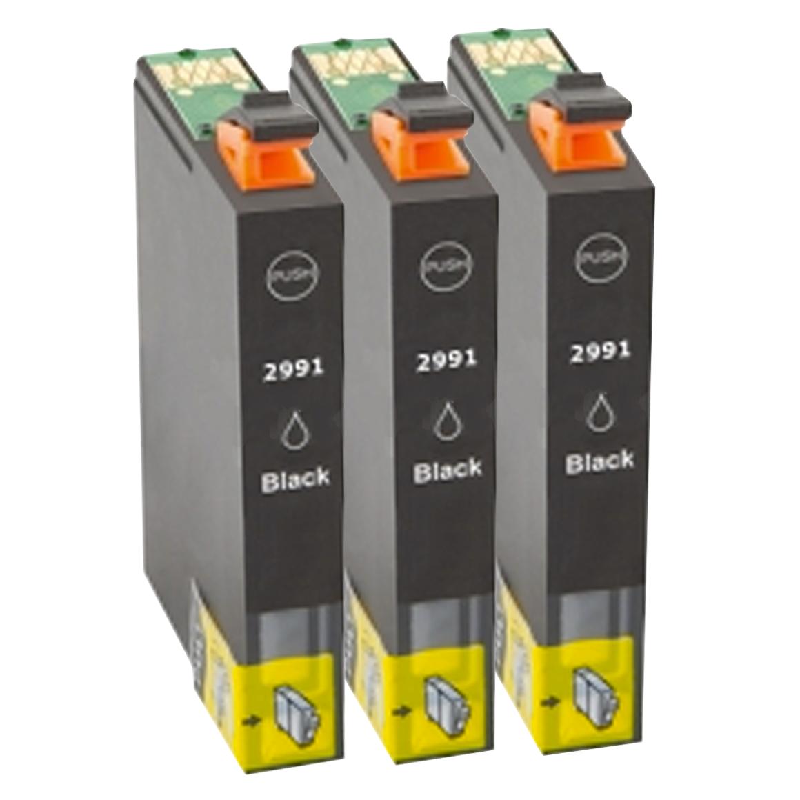 Afbeelding van 3x Epson 29XL (T2991) zwart hoge capaciteit (huismerk inktcartridges)