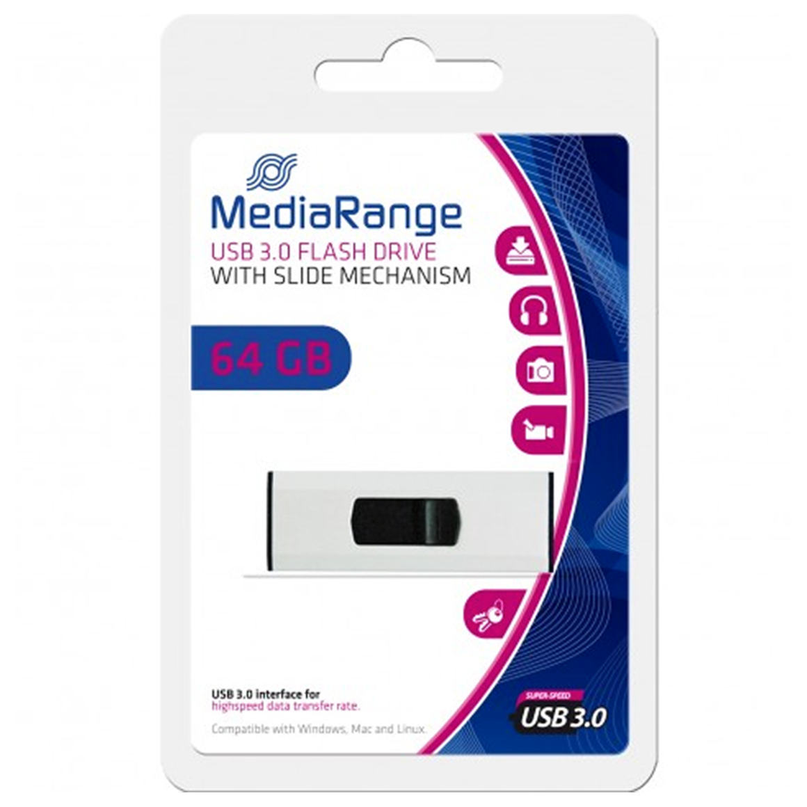 MediaRange USB 3.0 Flash Drive, 64 GB