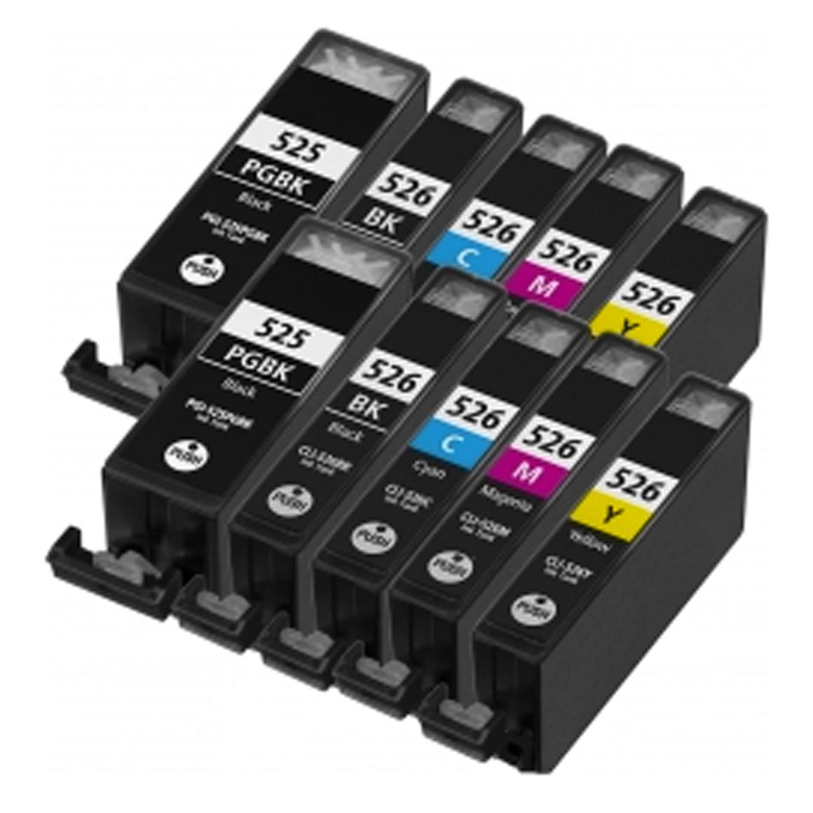 Afbeelding van 2x Canon PGI 525 + CLI 526 Multipack XL met chip (5set huismerk)