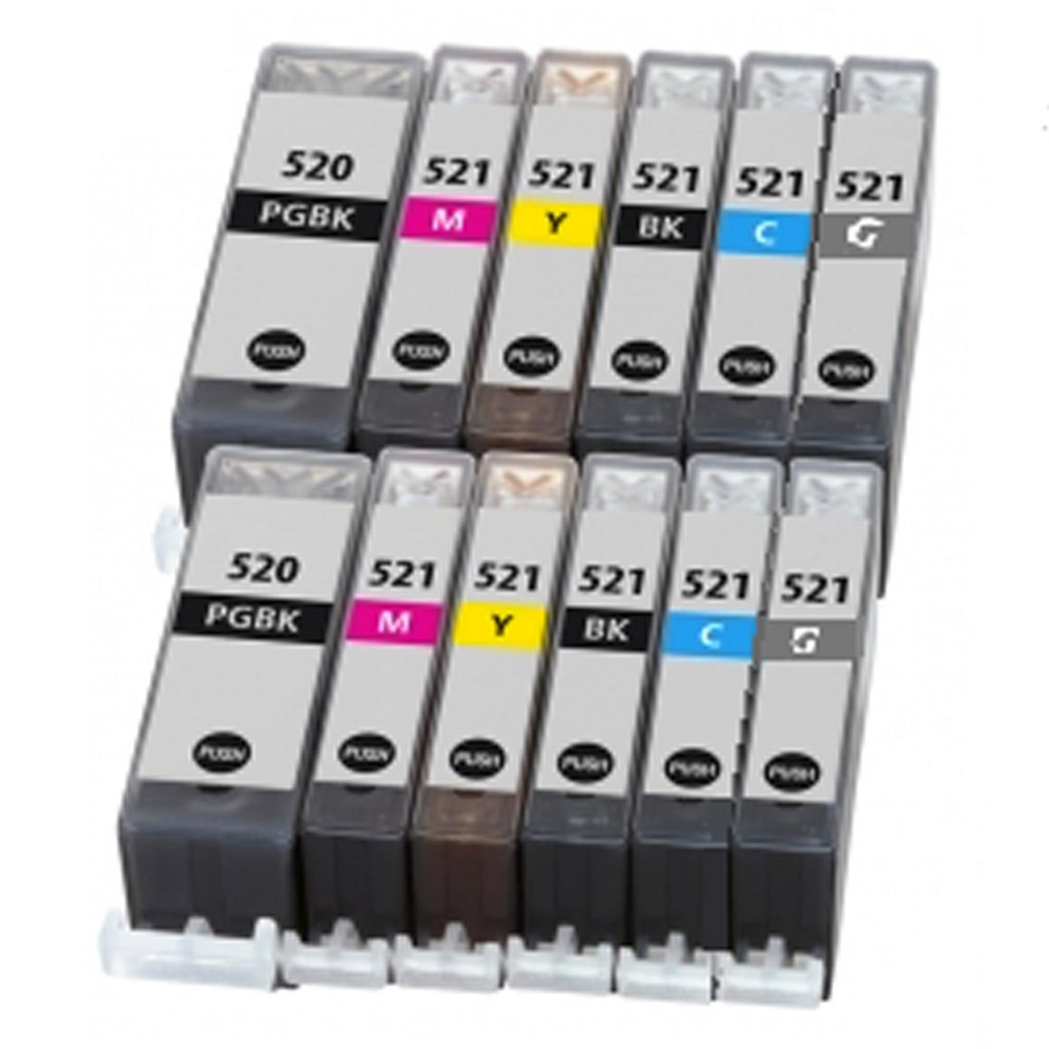 Afbeelding van 2x Canon PGI 520 + CLI 521 XL Mutlipack met chip (6set) (huismerk inktcartridges)